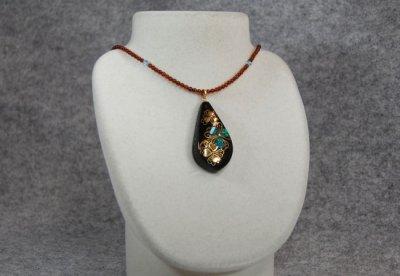 """Photo2: Pendant """"Flower pattern"""" Maki-e Jewelry Amber Japanese"""