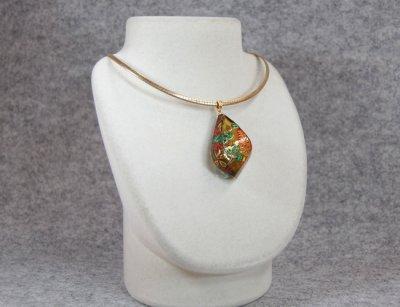 "Photo1: Pendant ""Bush clover"" Maki-e Jewelry Amber Japanese"