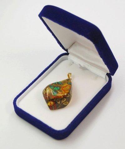 "Photo2: Pendant ""Bush clover"" Maki-e Jewelry Amber Japanese"