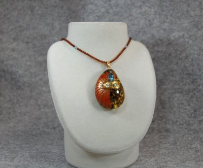 "Photo2: Pendant ""Mask"" Maki-e Jewelry Amber Japanese"
