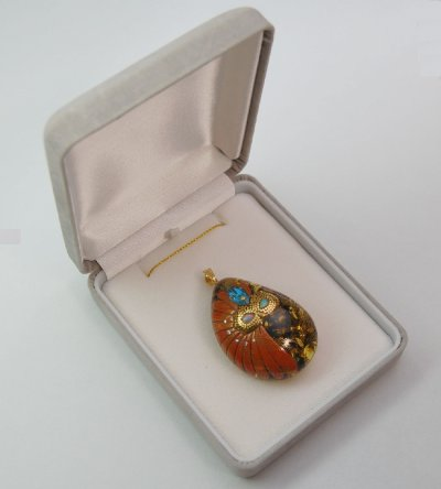 "Photo3: Pendant ""Mask"" Maki-e Jewelry Amber Japanese"
