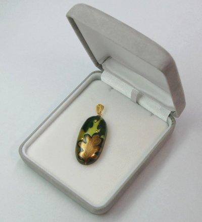 """Photo3: Pendant """"Kashiwaba"""" Maki-e Jewelry Amber Japanese"""