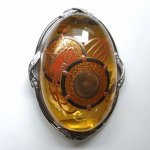 "Photo1: Brooch ""Japanese Drum"" Maki-e(Makie) Japanese Jewelry Amber #H1 (1)"