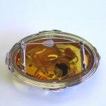 "Photo5: Brooch ""Japanese Drum"" Maki-e(Makie) Japanese Jewelry Amber #H1 (5)"