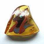 "Photo3: Brooch ""Anubis"" Maki-e(Makie) Japanese Jewelry Amber #H5 (3)"