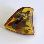 "Photo5: Brooch ""Anubis"" Maki-e(Makie) Japanese Jewelry Amber #H5 (5)"