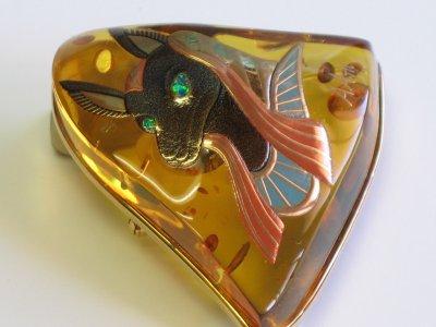 "Photo2: Brooch ""Anubis"" Maki-e(Makie) Japanese Jewelry Amber #H5"