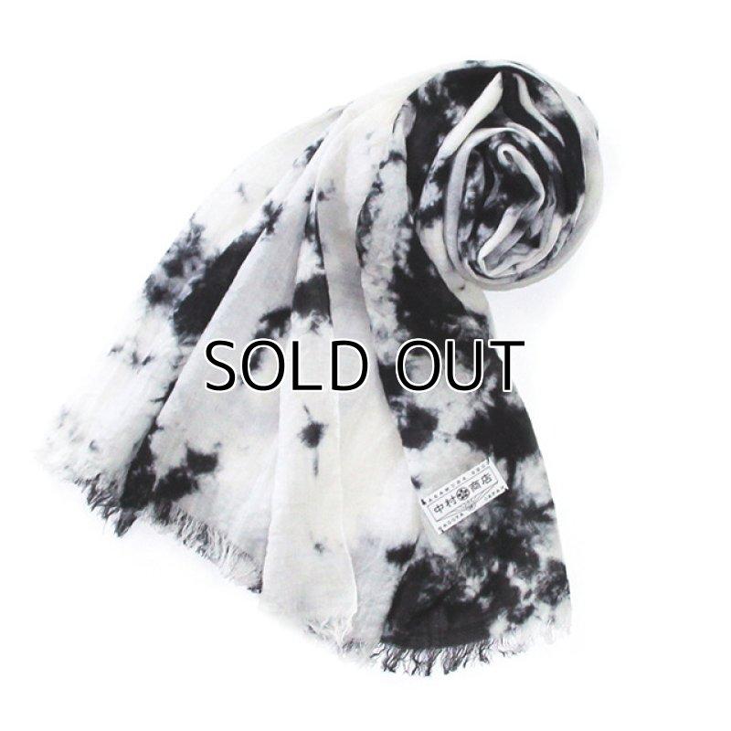 "Photo1: Stole ""Fog"" dyed in black Japanese traditional Black dyeing Handmade, Enshu, Japan (1)"