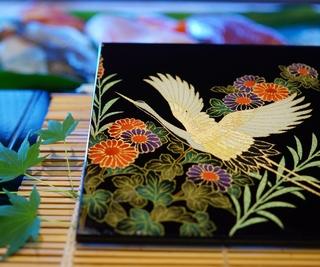 AGJ Original Kimono-Glass Dish / Plate Crane Nishijin Yuzen Kyoto