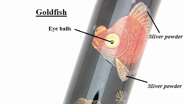 AGJ Maki-e Fountain Pen Goldfish and Fireworks10