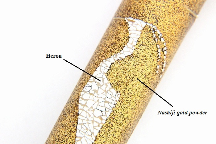 "Photo1: AGJ Original Maki-e Fountain pen #61 ""Heron"" Sailor 21K nib Sparkling Togidashi Taka Maki-e Kyoto Japan Wa (1)"