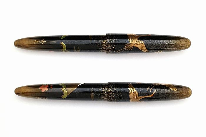AGJ Maki-e Fountain Pen Double Cranes with Mt. Fuji03