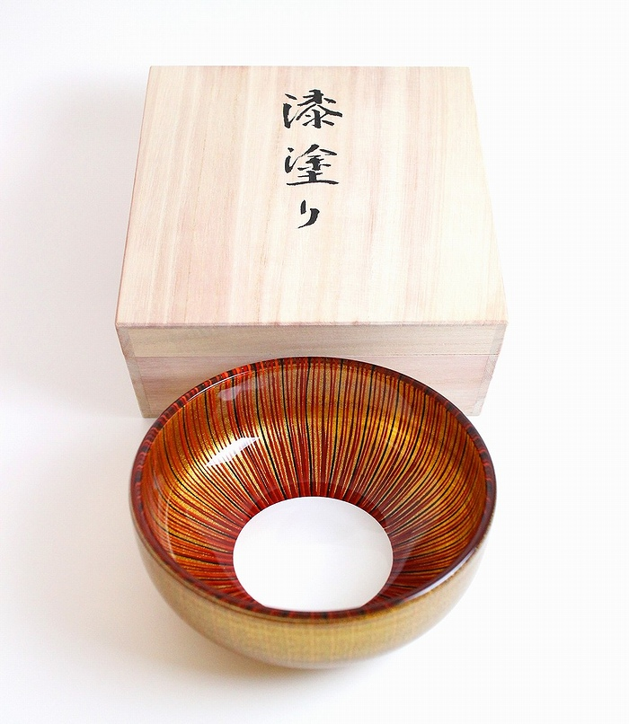 AGJ Glass urushi Bowl Gold Tsubomi5