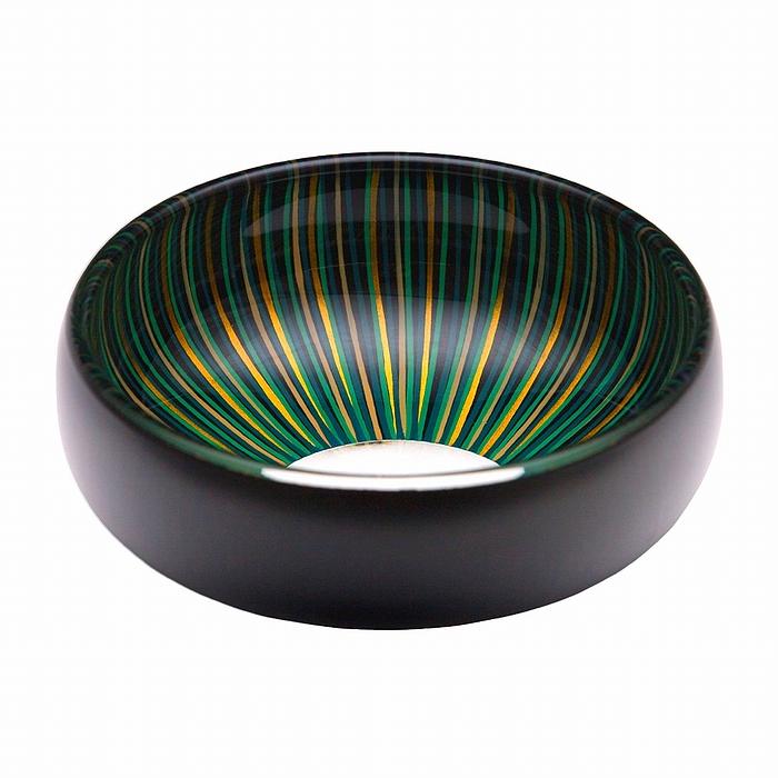 AGJ Glass urushi Bowl Black Blue Tsubomi1