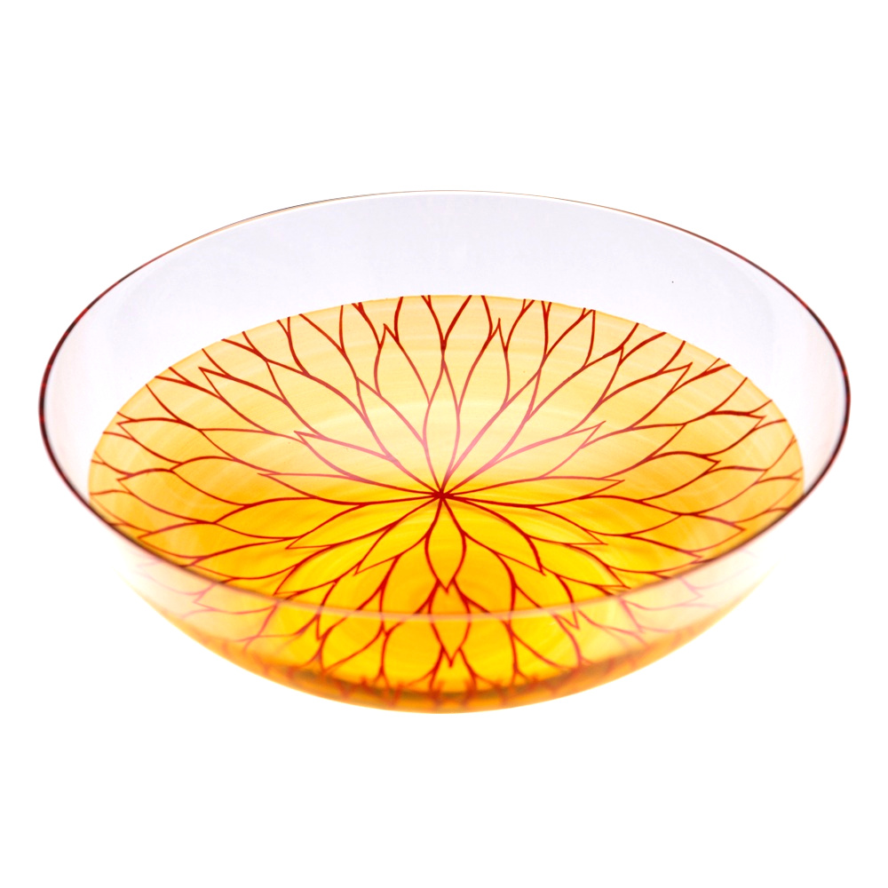 "Photo1: AGJ Glass urushi Bowl ""Chrysanthemum"" Vermillion (1)"