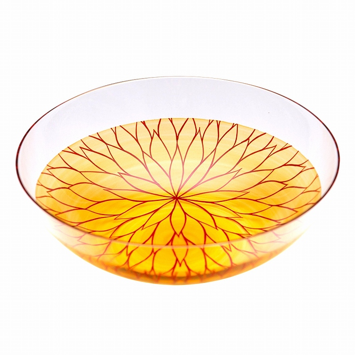 AGJ Glass urushi Bowl Vermillion Chrysanthemum1