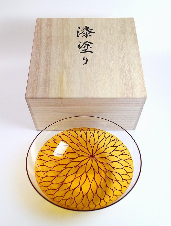 AGJ Glass urushi Bowl Vermillion Chrysanthemum5
