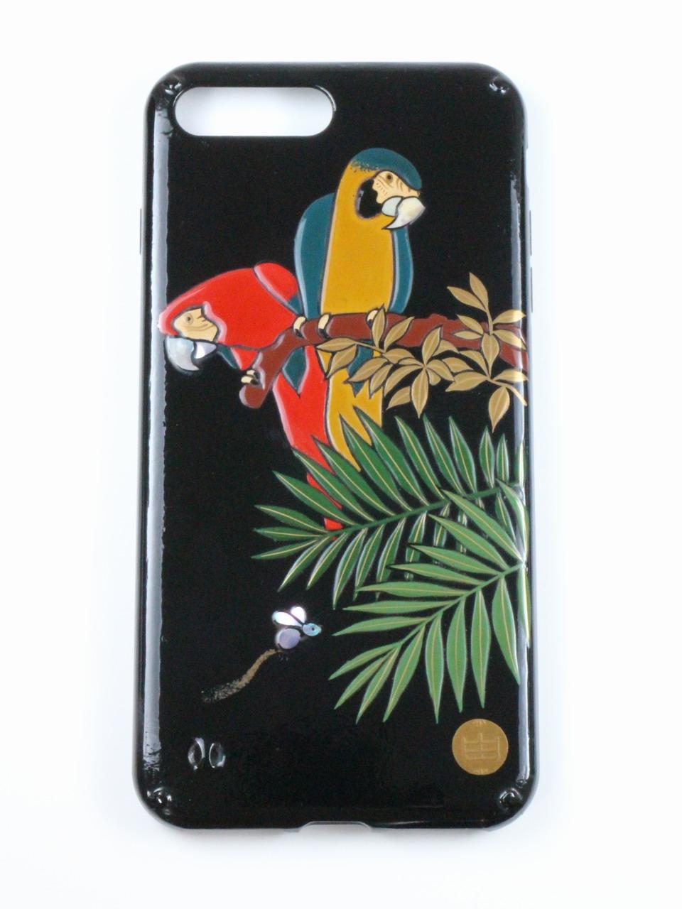 """Photo1: AGJ Original Maki-e iPhone Case Cover """"Parrot"""" for iPhone 7 Plus / 8 Plus (1)"""