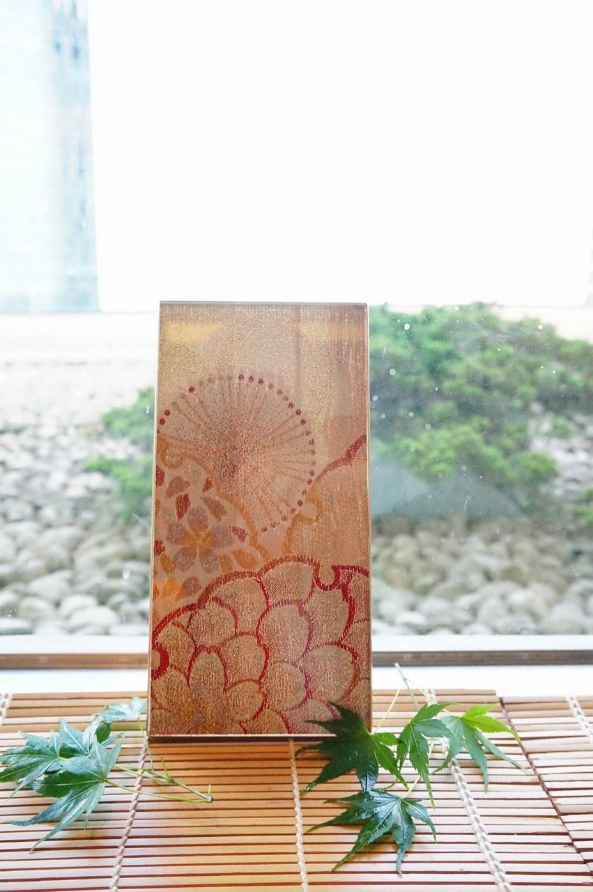 "Photo1: AGJ Original Kimono-Glass Dish / Plate ""Cherry blossoms"" Nishijin Yuzen Kyoto (1)"
