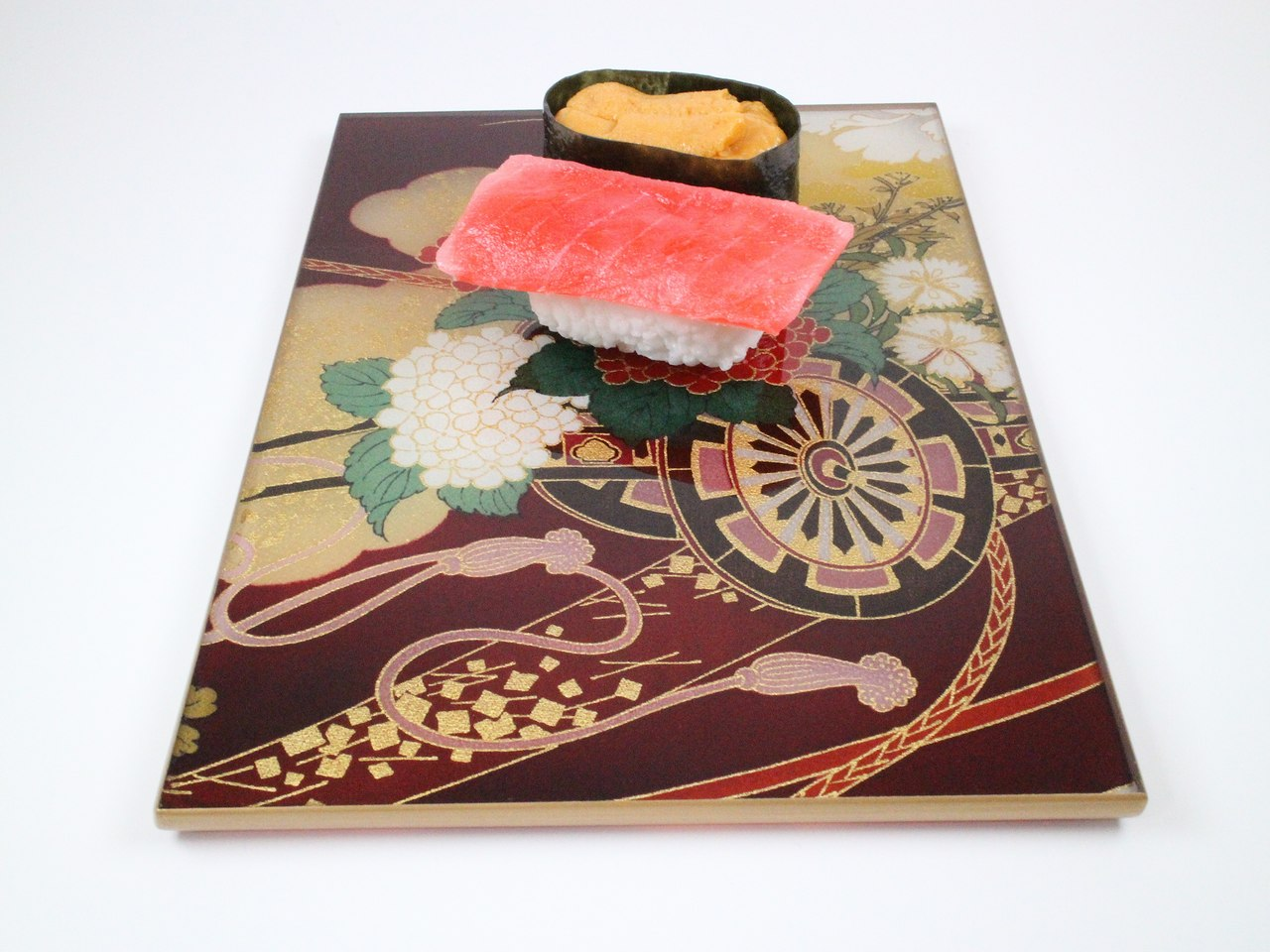 "Photo1: AGJ Original Kimono-Glass Dish / Plate ""Court Carriage"" Nishijin Yuzen Kyoto (1)"