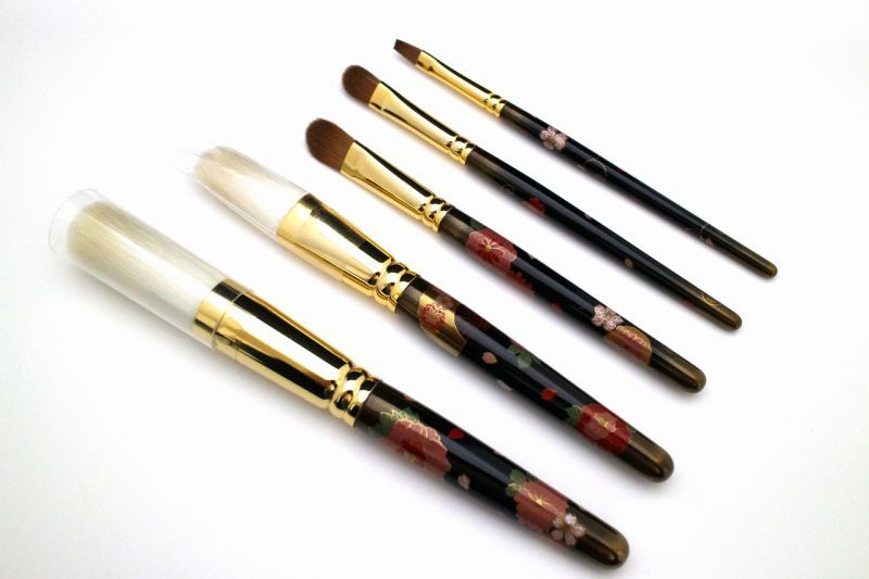 "Photo1: AGJ Original Maki-e Makeup brush ""Peony"" 5 pcs Brush Set Togidashi Taka Maki-e (1)"