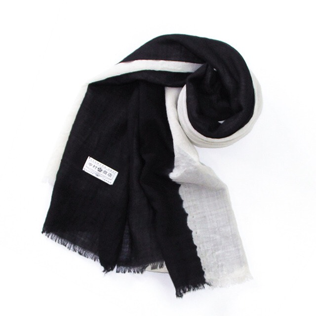 "Photo1: Stole ""Half"" dyed in black Japanese traditional Black dyeing Handmade, Enshu, Japan (1)"